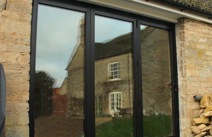 French doors with wooden frames