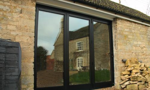 Brown french patio doors