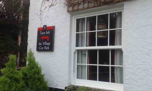 Sash windows at the Kings Arms pub in Georgeham