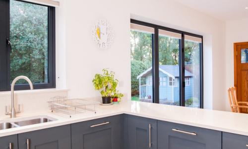 Kitchen with aluminium windows  in North Devon