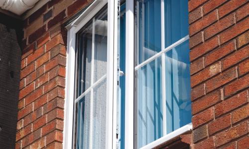 Upstairs white trim window in upvc