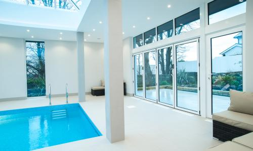 Bi fold doors for swimming pool