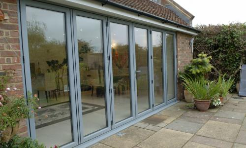Bi fold wide fascia doors in aluminium