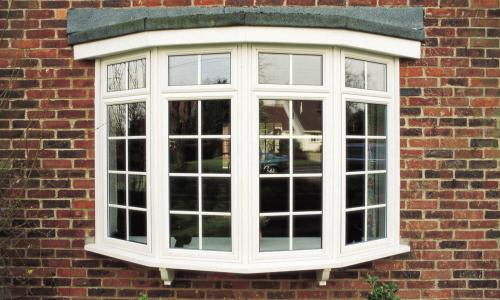Bow window uPVC windows in white