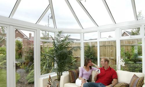 Inside high ceiling upvc conservatory