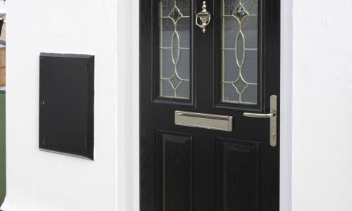 black external solid door