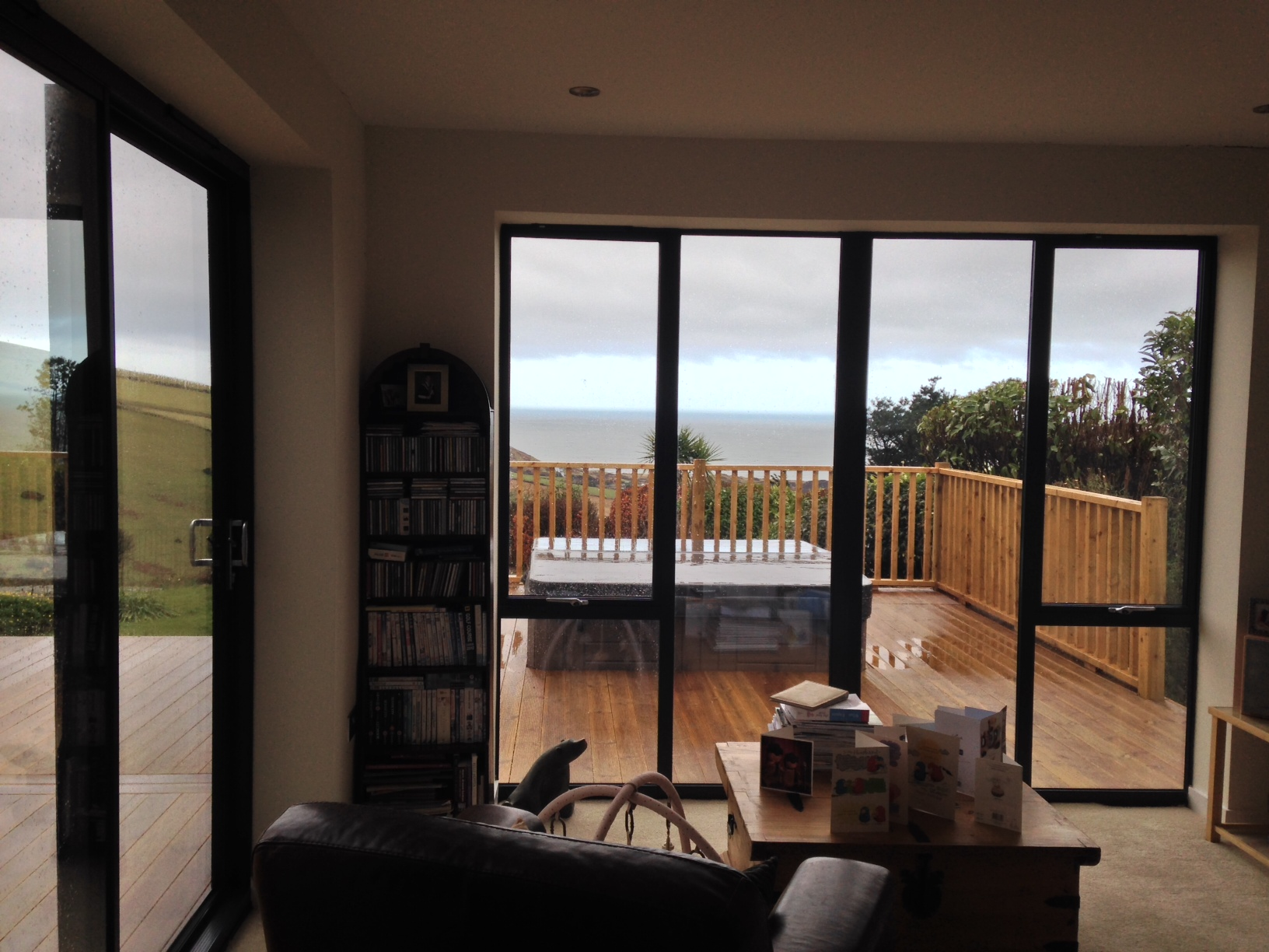 Woodstock Windows grey aluminium with a North Devon view